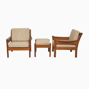 Pair of Danish Teak Lounge Chairs with 1 Ottoman from Dyrlund, 1960