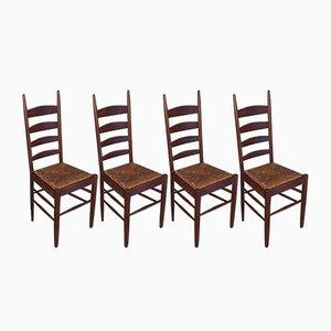 Französische Esszimmerstühle aus Holz & Stroh, 1960er, 4er Set
