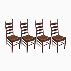 French Wood and Straw Dining Chairs, 1960s, Set of 4