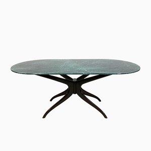 Italienischer Esstisch aus Holz & Kunstmarmor, 1950er