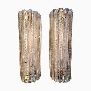 Mid-Century Brass and Glass Sconces by Carl Fagerlund for Orrfors, 1950s, Set of 2