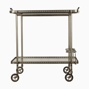 Mid-Century Italian Glass and Metal Trolley, 1960s