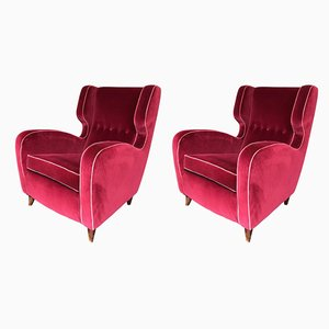 Italian Rosewood and Velvet Armchairs by Guglielmo Ulrich, 1940s, Set of 2
