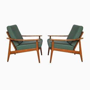 Skandinavische Sessel mit Gestell aus Teak, 1960er, 2er Set