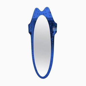 Italienischer Mid-Century Spiegel mit kobaltblauem Rahmen von Cristal Art, 1960er