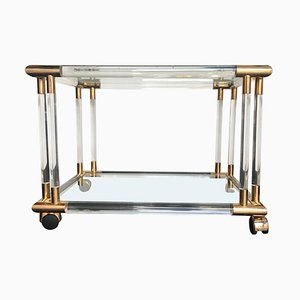 Art Deco French Glass, Lucite, and Gilded Metal Bar Trolley, 1970s