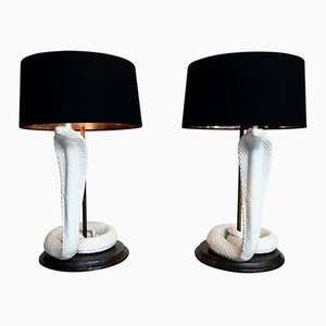 Italian Ceramic Cobra Table Lamps by Tommaso Barbi, 1970s, Set of 2