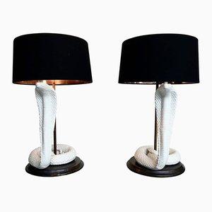 Lámparas de mesa Cobra italianas de cerámica de Tommaso Barbi, años 70. Juego de 2