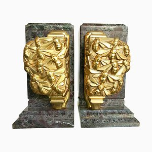 Art Deco Amazonite Marble & Gilt Metal Bee Bookends, 1930s, Set of 2