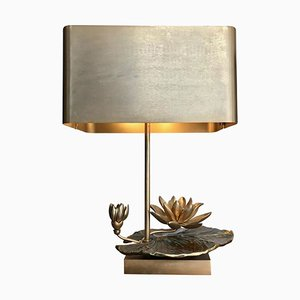 Bronze Nenuphar Double Ecran Table Lamp from Maison Charles, 1960s