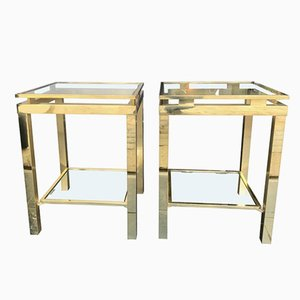 Vintage French Glass and Gilt Metal 2-Tier Side Tables, 1970s, Set of 2
