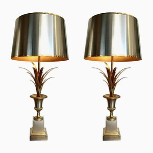 French Rose Vase Table Lamps from Maison Charles, 1960s, Set of 2
