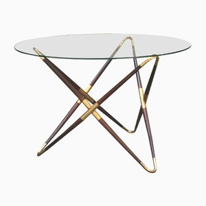 Italian Brass and Glass Coffee Table by Cesare Lacca, 1950s