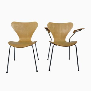 Danish 3207 & 3107 Chairs by Arne Jacobsen for Fritz Hansen, 1991, Set of 2