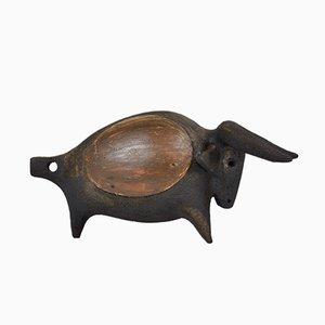 Toro vintage in ceramica di Dominique Pouchain