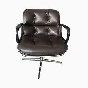 Sedie girevoli in pelle di Charles Pollock per Knoll, anni '60, set di 2