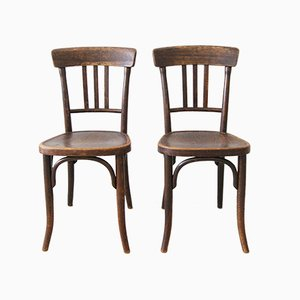 Vintage Beech Dining Chairs from Thonet, Set of 2