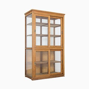 Mid-Century Glass & Wood School Display Cabinet, 1950s