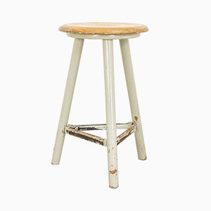 Vintage German Grey Workshop Stool from Ama-Schemel, 1930s