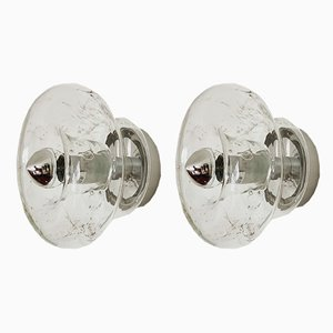 German Frosted Glass Sconces from Doria Leuchten, 1960s, Set of 2