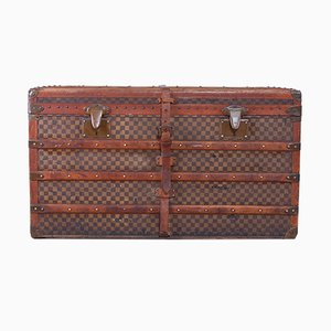Antique French Leather and Wood Travel Trunk from Moynat