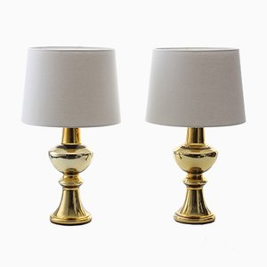 Moderne Tischlampen aus vergoldetem Metall & Glas im skandinavischen Stil von Uno & Östen Kristiansson für Luxus, 1960er, 2er Set