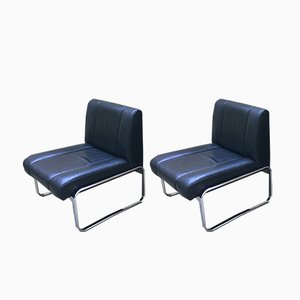 Black Leather & Chrome Lounge Chairs, 1970s, Set of 2