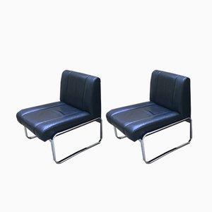 Sessel aus schwarzem Leder & Chrom, 1970er, 2er Set