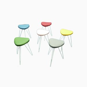 Hand-Crafted Metal and Skai Stools from Vereinigte Werkstätten Collection, 1950s, Set of 6