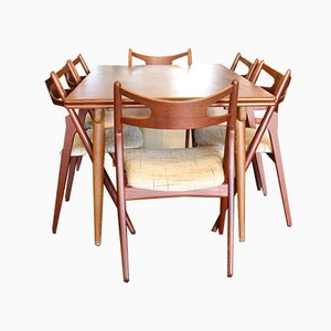 AT312 & CH29 Teak Dining Set AT by Hans J. Wegner, 1960s