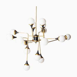 Mid-Century Modern Italian Brass and Opaline Glass Ceiling Lamp, 1970s