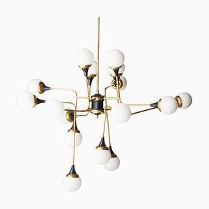 Moderne italienische Mid-Century Deckenlampe aus Messing & Opalglas, 1970er