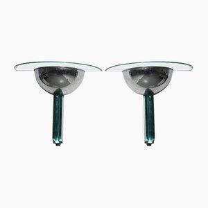 Applique in alluminio e cristallo di Fontana Arte, Italia, 1968, set di 2