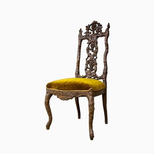 Antique Schwarzwalder Style Oak and Velvet Side Chair, 1880s