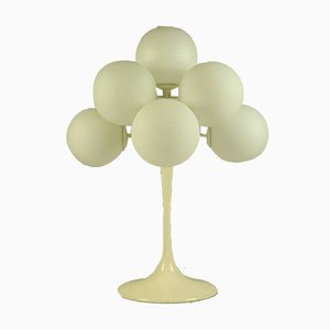 Vintage Aluminum and Frosted Glass Table Lamp by E.R. Nele for Temde