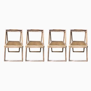 Italian Modern Straw Folding Chairs by Tresoldi e Salvati for Potocco, 1970s, Set of 4