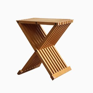 Modernist Beech Folding Stool, 1960s