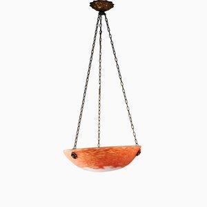 Antike Deckenlampe aus Messing & Glas von Noveroy