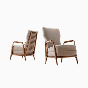 Moderne Caviuna Holzstühle mit hoher Rückenlehne von Giuseppe Scapinelli, 1950er, 2er Set