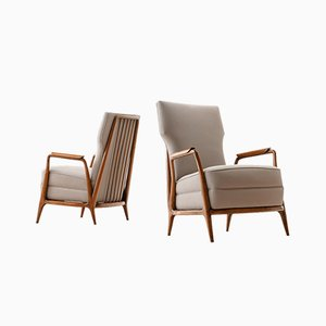 Modernist Caviuna Wood High Back Chairs by Giuseppe Scapinelli, 1950s, Set of 2
