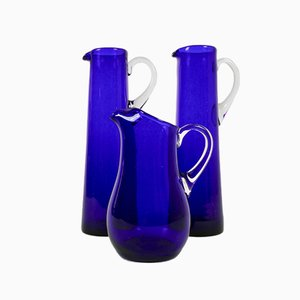 Blue Glass Jugs by Monica Bratt for Reijmyre Glasbruk, Set of 3, 1950s