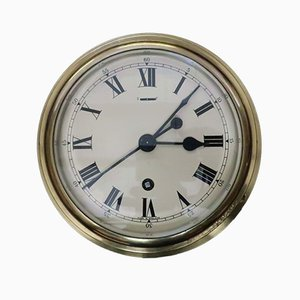 Mid-Century Industrial English Brass Ship Clock from F.W. Elliott, 1952
