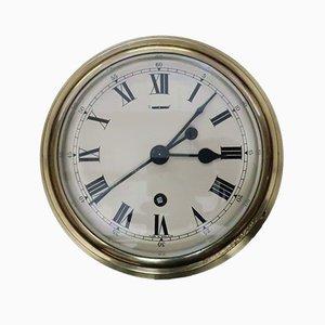 Mid-Century Industrial English Brass Ship Clock from F.W. Elliott, 1952