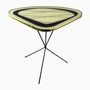 Small Mid-Century Glass and Metal Kidney Table, 1950s
