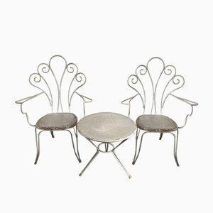 Juego de jardín italiano vintage de aluminio con sillas y mesa, años 70