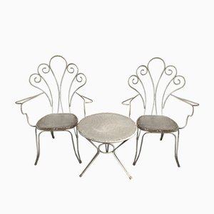 Vintage Italian Aluminum Garden Set with Chairs and Table, 1970s