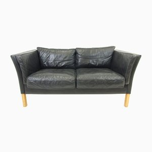 Danish Black Leather 2-Seat Sofa, 1950s