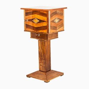 Tavolino Art Déco intarsiato in legno di noce, anni '20