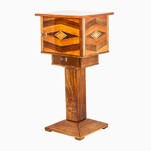 Vintage Art Deco Walnut Inlaid Side Table, 1920s