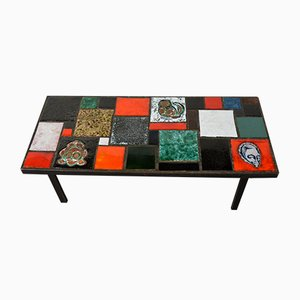 Mid-Century French Ceramic & Metal Coffee Table, 1950s